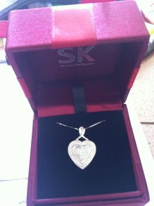 September 2011 - First heart-shaped diamond necklace from you
