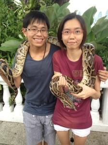 August 2012 - Courageous me insisted on holding a REAL snake